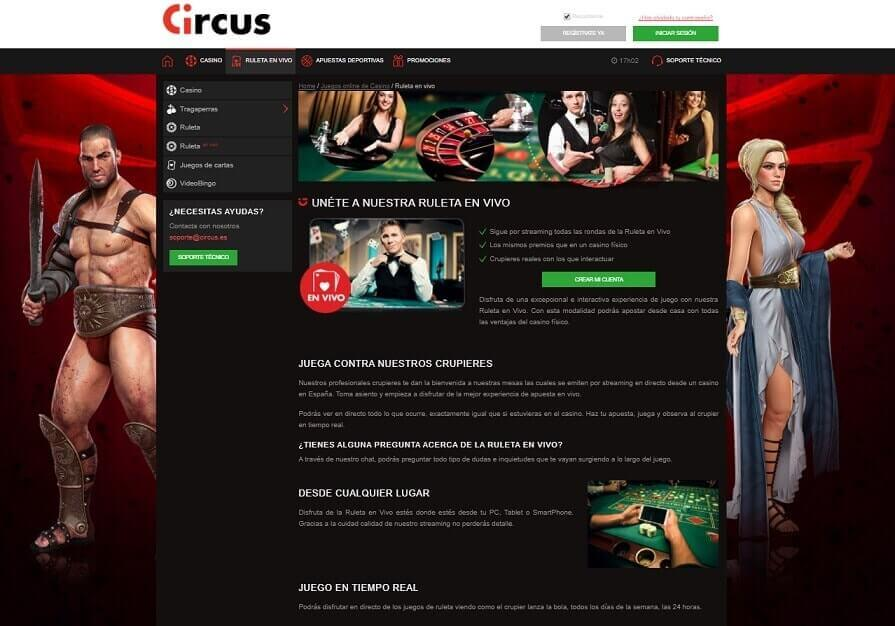 Circus ruleta en vivo
