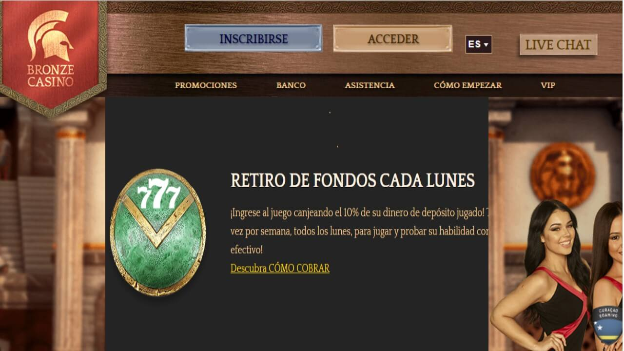 Bonos de reembolso del 10% por retiros los lunes Bronze Casino