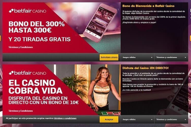 betfair casino promociones