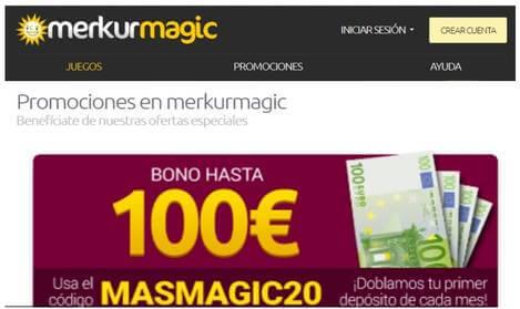 Merkurmagic bono hasta por 100 euros por depósitos