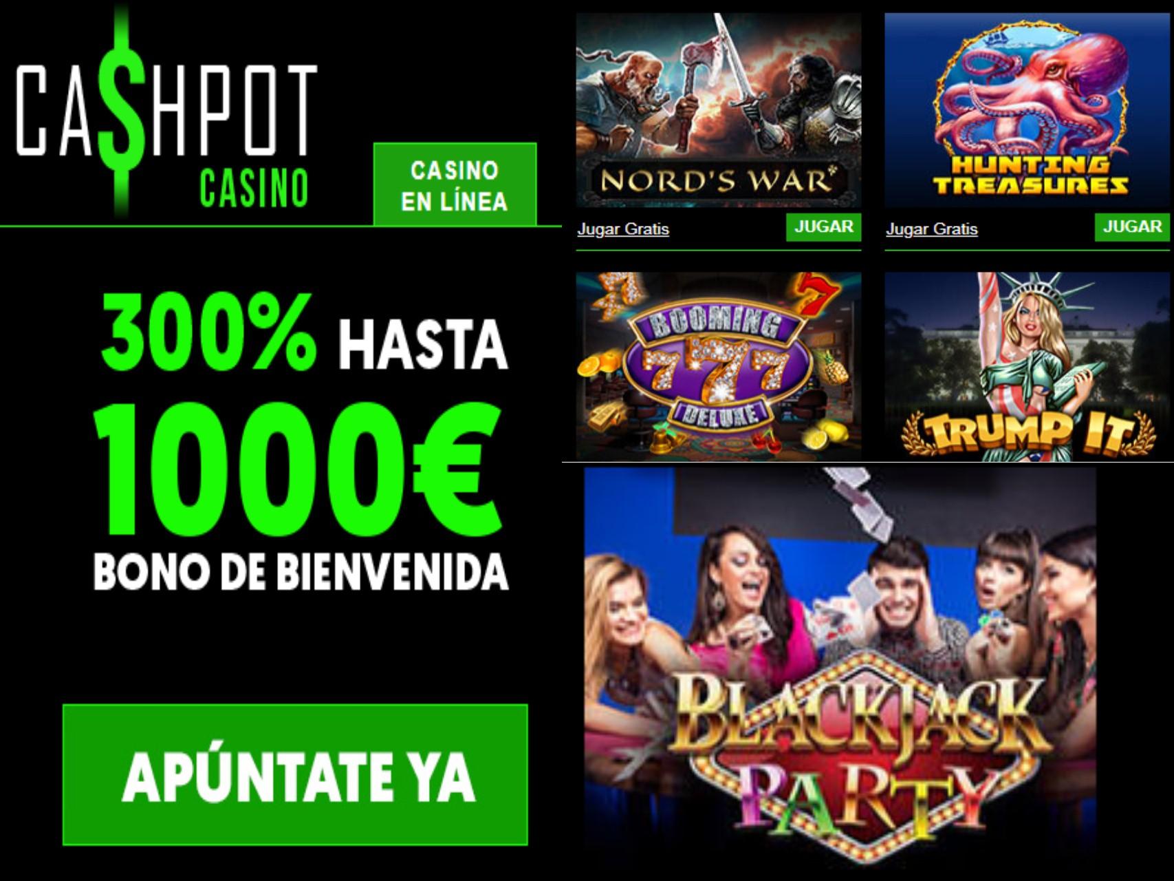 Consiga 1000 euros sobre el primer ingreso en Casino Cashpot