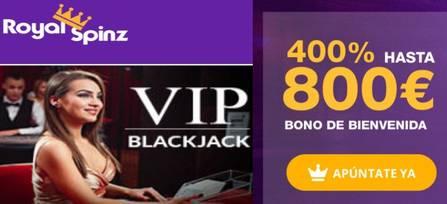 25 juegos gratis y 800 euros por 400% al primer depósito en Casino Royal Spinz