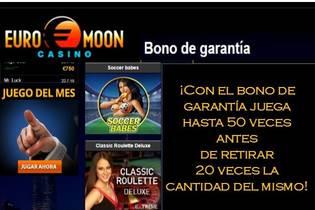 Bono de garantía Casino Euromoon 20 veces el valor del bono